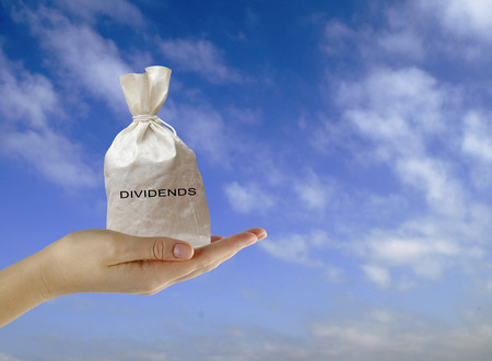 dividends: Bag with dividends Stock Photo