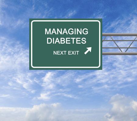 Road Sign to diabetes management 版權商用圖片 - 41935551