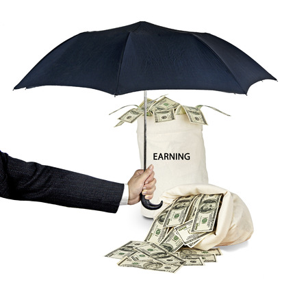earning: bag with earning Stock Photo