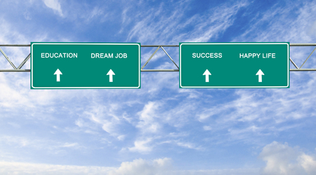 thriving: Road sign to  education,success, and dream job Stock Photo