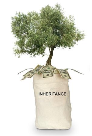 inheritance: Bag with inheritance Stock Photo