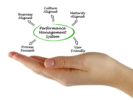 management system: Diagram of  Performance Management System Stock Photo