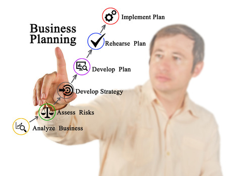 rehearse: Diagram of Business planning Stock Photo
