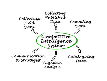 strategist: Diagram of Competitive Intelligence System Stock Photo