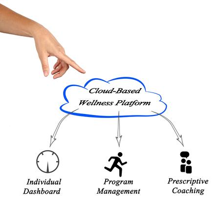 cloud based: diagram of Cloud Based Wellness Stock Photo
