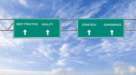 best practices: Road sign to best practices