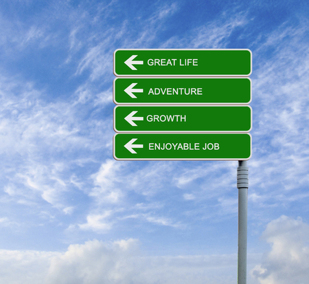 independency: Road sign to great life Stock Photo