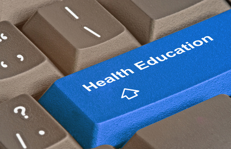 health education: Keyboard with key for health education