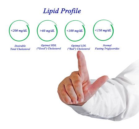 in profile: Diagram of Lipid profile Stock Photo