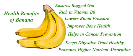 food absorption: Health Benefits of Bananas Stock Photo