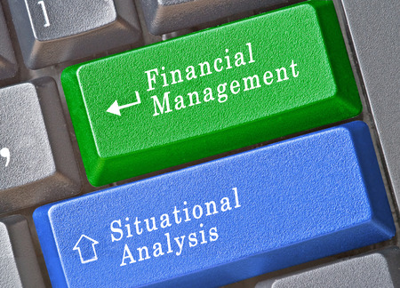 situational: Keyboard with keys for financial management and situational analysis