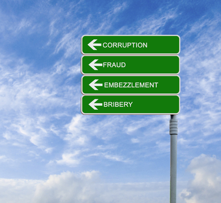 extortion: Direction road sign with  Corruption word