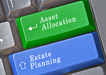 estate planning: Keyboard with keys for asset allocation and estate planning Stock Photo