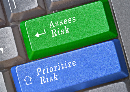 categorization: Keyboard with keys for risk assessment and prioritization Stock Photo