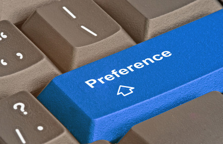 preference: Keyboard with key for preference Stock Photo