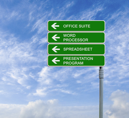 suite: road sign to office suite Stock Photo