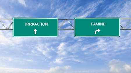 road sign to irrigation Stock Photo