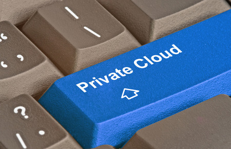 private cloud: Keyboard with key for private cloud Stock Photo