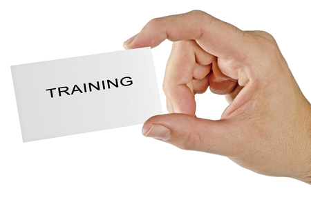 succession planning: Hand with business card for training