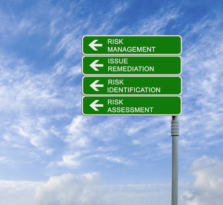Road sign to risk management Stock Photo