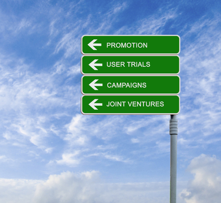 Road signs to promotion Stock Photo