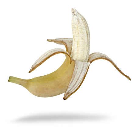 Peeled banana isolated on white background 版權商用圖片