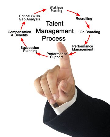Man Presenting Talent Management Process Zdjęcie Seryjne