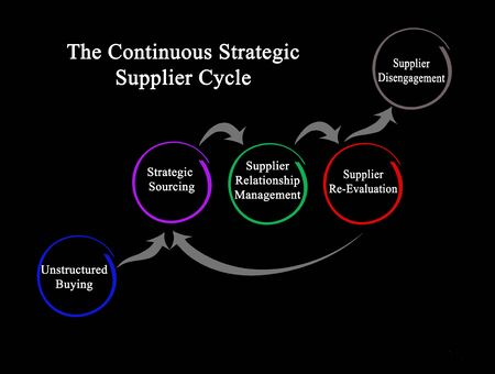 Components of Continuous Strategic Supplier Cycle Stock Photo