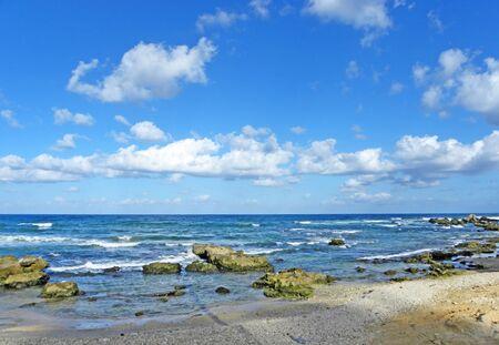 Israeli mediterranean sea shore at low tide