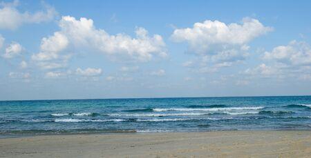 Israeli mediterranean sea shore at low tide Stock Photo