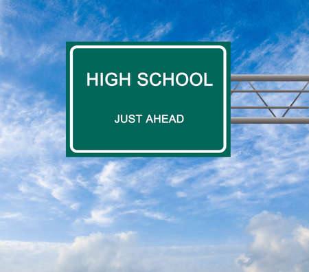 Road sign to high school