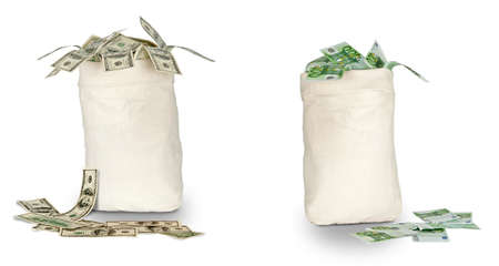 Bags with euro and dollars Imagens