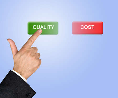 Man pressing quality and cost buttons Stockfoto