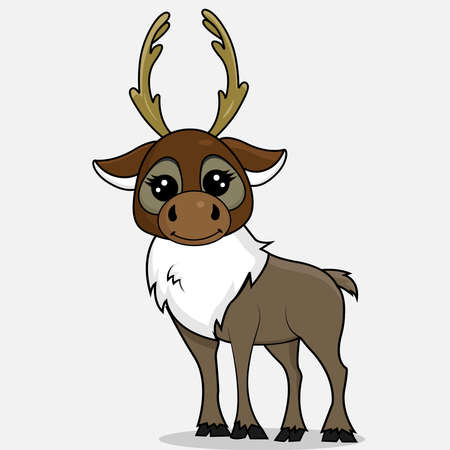 Cartoon deer. Christmas animal isolated on the white background.