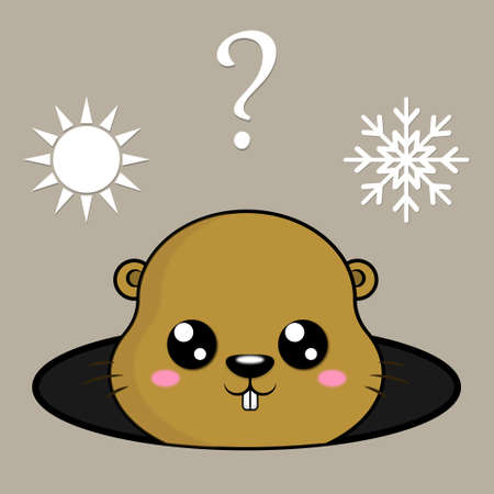 Illustration of cute groundhog and weather icons. Winter or spring. Cute marmot predicts the weather. Happy groundhog day.