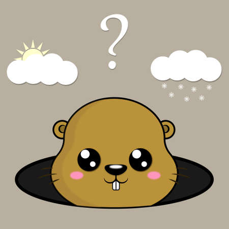 Happy Groundhog Day. Cute marmot predicts the weather. Winter or spring.