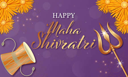 Happy Mahashivratri Shivling with Trishul, Damru and Flowers. Vector illustration.