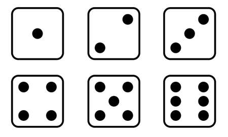 Set of Dice icon. Traditional die with six faces of cube marked with different numbers of dots or pips from 1 to 6. Simple flat style. Vector Illustration. Ilustración de vector