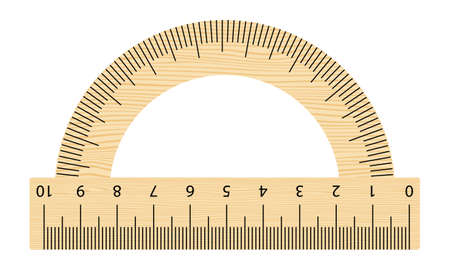 Realistic wooden protractor ruler. Tilt angle meter. Vector measuring tool isolated on the white background