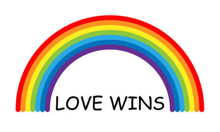 Vector pride love wins text and rainbow. Isolated on white background Vettoriali
