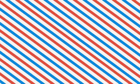 Barbershop liner background. Diagonal stripe - carmine pink, seashell, blue cola. Vector template in vintage style.