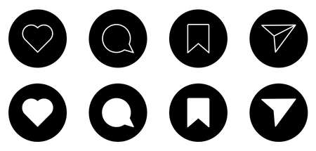 Big set of social media icons in circle shape. Like, comment, share and save. Vector isolated on white background