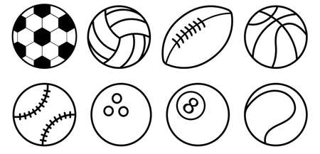Collection Of Black And White Sports Balls Flat style. Football, soccer, basketball, tennis, baseball, volleyball, bowling, billiard. Vector icons isolated on white background