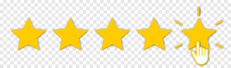 Five yellow stars with hand click. Set of quality rank. Best choice illustration. Hand touching the last star. Rating sign. Design for apps and website. Isolated on transparent background Ilustracje wektorowe