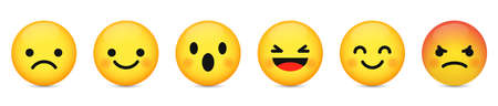 Set of cute emoji icon. Design for social networks. Vector illustration isolated on white