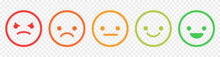 Set of emoticons with different moods. Line art style. Emoji from bad to good emothions. Vector illustration isolated on transparent background Vetores