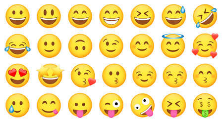 Set of cute yellow emoji icons. Funny emoticons faces with facial expressions. Vector collection Ilustração Vetorial