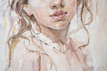 Fragment of portrait of a girl with brown hair is made in a classic style.