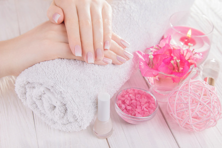Womans french ombre manicure with cosmetics set