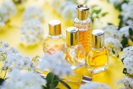 Bottles of perfume with white flowers on yellow background 스톡 콘텐츠